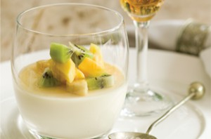 Panna cotta with boozy fruit