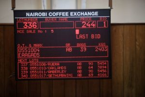 The bidding board at the Nairobi Coffee Exchange.