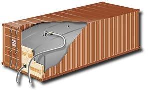 A flexitank used to ship wine in bulk,